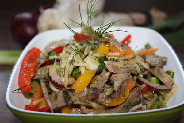 рецепты салатов из свиного языка