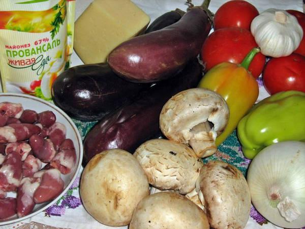 Ингредиенты салата с баклажанами