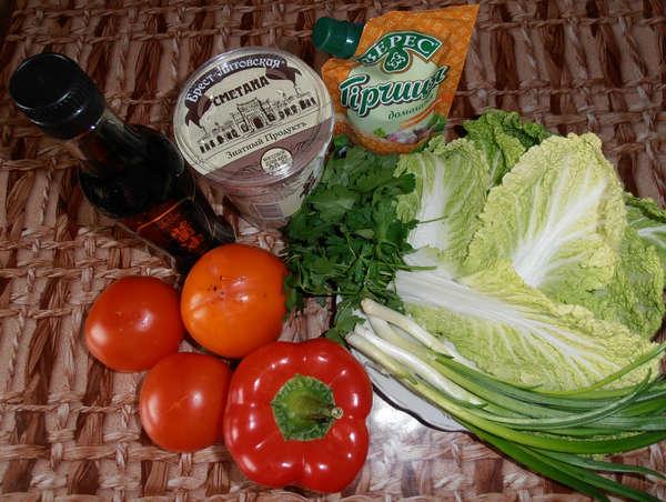 Ингредиенты для салата из пекинской капусты
