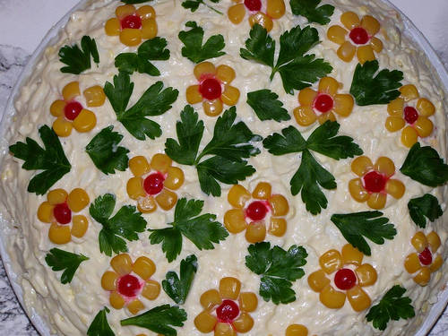 Украшение салатов с фото своими руками на новый год