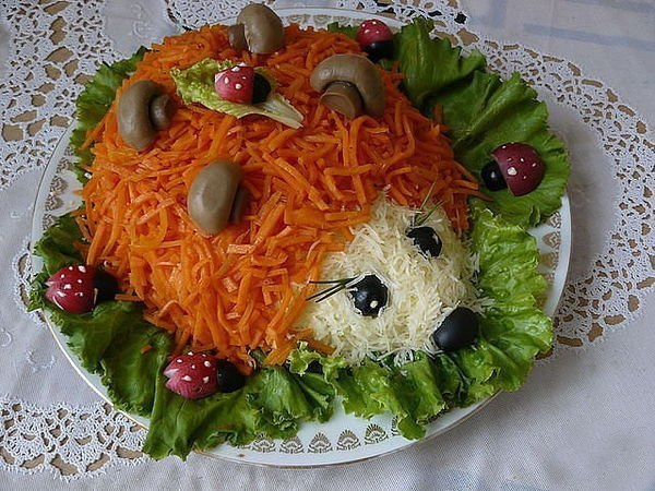 рецепты салатов из курицы и шампиньонов и корейской моркови