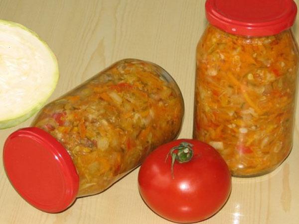 салат на зиму с капустой и рисом