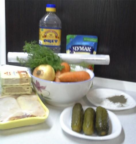 Ингредиенты для салата Лесная поляна