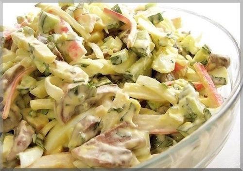 салат из крабовых палочек и шампиньонов с капустой