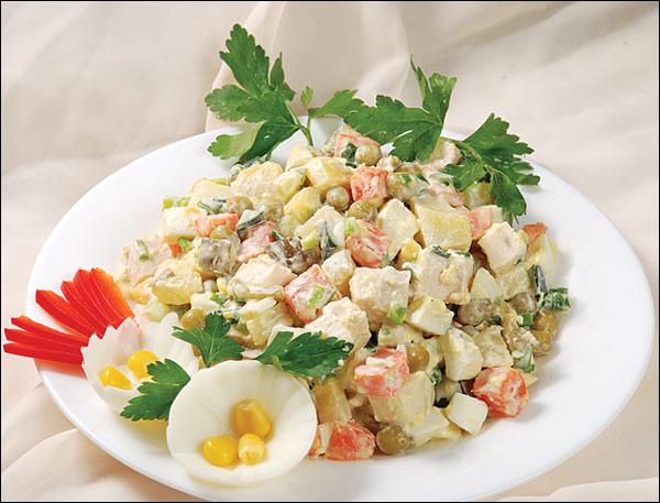 рецепт салата с курицей и крабовым мясом