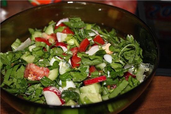 салат с  щавелем и яблоками